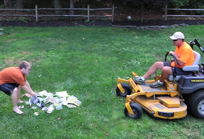 Father Son video games lawnmower