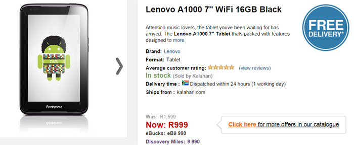 Lenovo A1000 tablet special from Kalahari