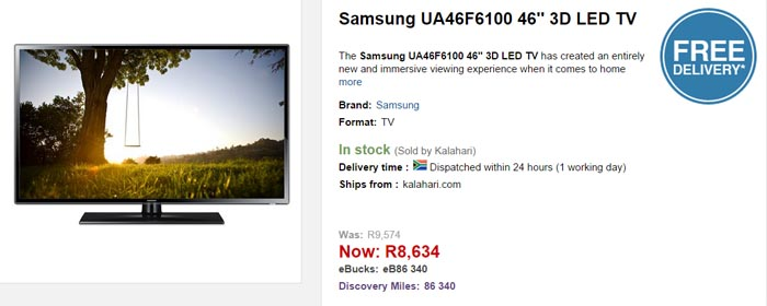 Samsung 46 inch LED 3D TV special from Kalahari
