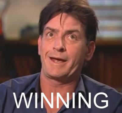 Charlie Sheen winning