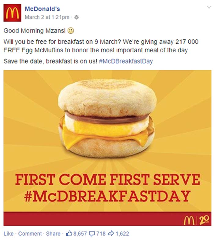 McDonalds Facebook post