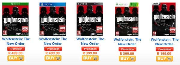 Wolfenstein The New Order specials from AWX