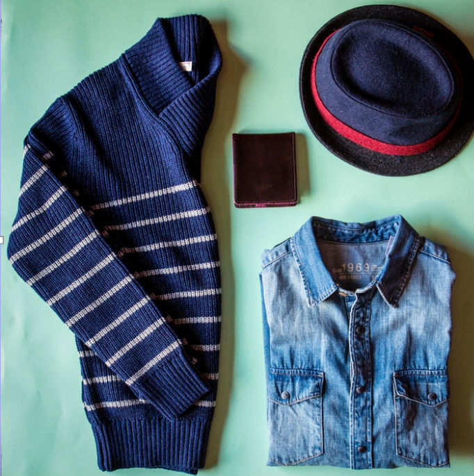 Gap stripe jersey denim shirt