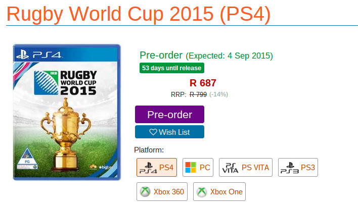 Rugby World Cup video game Raru