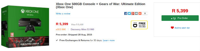 Xbox One console from Takealot