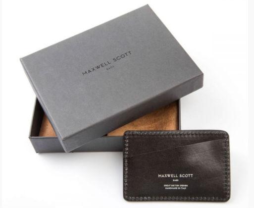 Maxwell Scott Luxury Black Credit Card Case