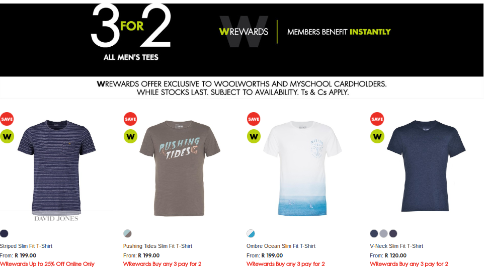 Woolworth 3 for 2 tshirt sale