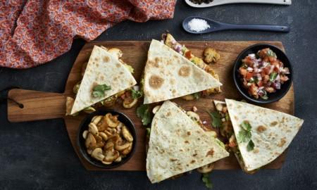 Mushroom and chicken quesadilla header