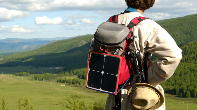 Energy flyer on a backpack